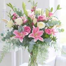 Pink Sophistication Rose, Lily and Lisianthus Vase